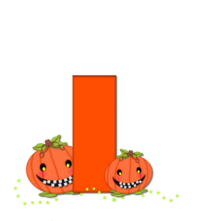 The letter I, in the alphabet set Pumpkin Head, is bright orange. Letter is decorated with smiling, toothy pumpkins and green polka dots.