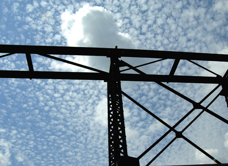 hancock: Blue sky silhouettes railroad track used for loading and transporting copper ore from the historic Quincy Copper Smilter in Hancock, Michigan.