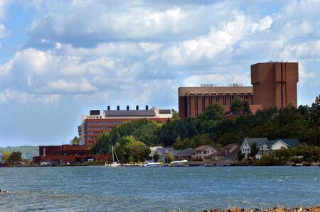 portage: Buildings on the Michigan Technological College campus overlook the waters of Portage Lake in Houghton, Michigan.