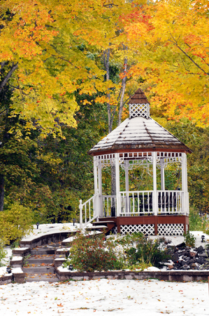 Golden branches of Autumn surround an outdoor landscaping of steps and gazebo.