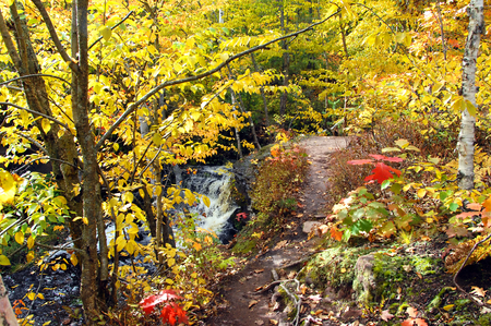 upper peninsula: Curving path winds along the ledge of the Hungarian Waterfall in Upper Peninsula, Michigan.  Yellow and gold leaves cover landscape. Stock Photo