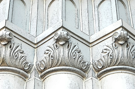 uniformity: Abstract church pillars form rounded, pointed, and flat pattern in white and cream.  Angles add depth and uniformity.