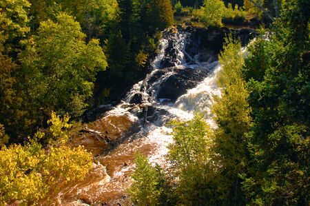 eagle falls: Eagle River Falls gushes over man made barrier in Upper Peninsula, Michigan.  Fall turns hardwood trees golden in the morning sunlight.