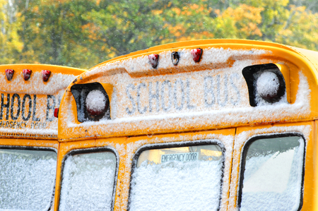 michigan snow: Autumn is being replaced by winter in Upper Peninsula, Michigan.  Snow collects on the glass of two school buses blocking view.