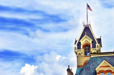 mined: Courthouse in Houghton, Michigan is Victorian and built with locally mined red sandstone.