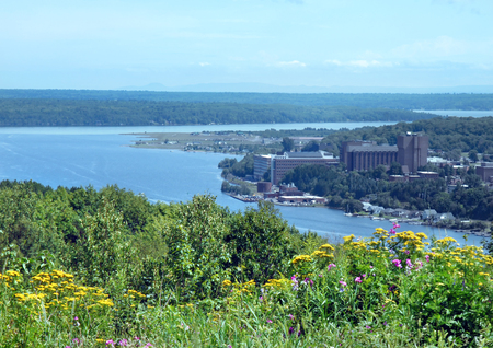 portage: Wildflowers overlook the Michigan Tech campus in Upper Peninsula, Houghton, Michigan.  Waters of portage and distant mountain range landscape college.