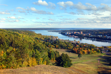 portage: Quinch Hill Overlook has panorama view of Portage Lake, Lake Superior, Houghton, Michigan Tech, and the Keweenaw Peninsula.