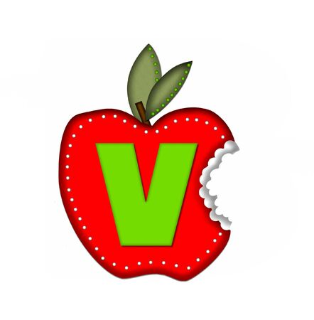 silouette: The letter V, in the alphabet set Delicious Apple Bite, is bright green.  Letter is sitting on a large red apple from which a bite has been taken.  Apple is encircled with white polka dots.