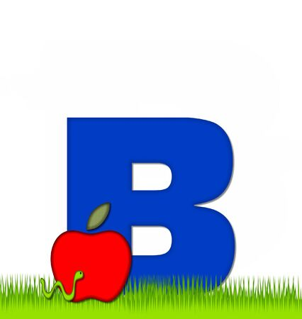 b day: The letter B, in the alphabet set Apple a Day Eaten Away, is blue.  Letter is sitting on green grass.  A green worm crawls around letter.