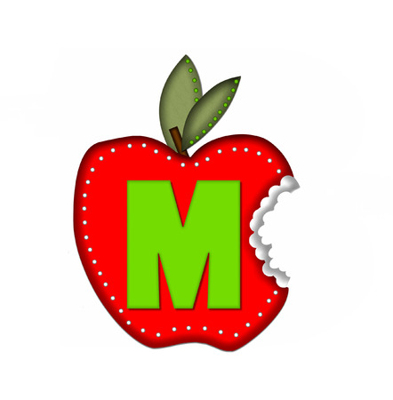 apple bite: The letter M, in the alphabet set Delicious Apple Bite, is bright green.  Letter is sitting on a large red apple from which a bite has been taken.  Apple is encircled with white polka dots.