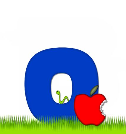 eaten: The letter O, in the alphabet set Apple a Day Eaten Away, is blue.  Letter is sitting on green grass.  A green worm crawls around letter.