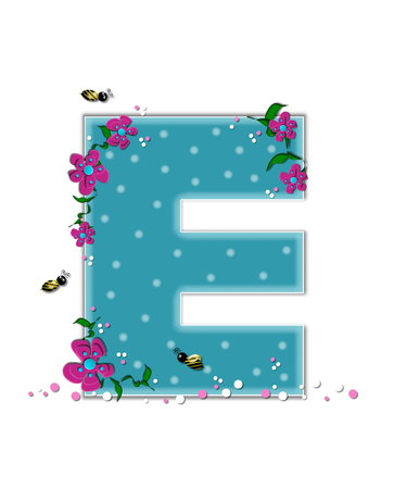 buzz: The letter E, in the alphabet set Garden Buzz, is aqua.  Each letter is decorated with soft polka dots, flowers and buzzing bees.  Base of letter is covered in pink and white confetti. Stock Photo