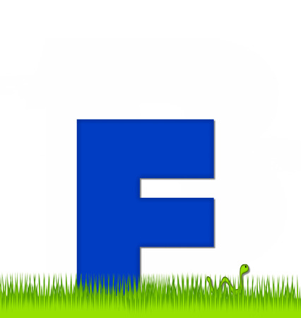 school yard: The letter F, in the alphabet set Apple a Day Eaten Away, is blue.  Letter is sitting on green grass.  A green worm crawls around letter.