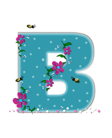 The letter B, in the alphabet set Garden Buzz, is aqua.  Each letter is decorated with soft polka dots, flowers and buzzing bees.  Base of letter is covered in pink and white confetti. Stock Photo