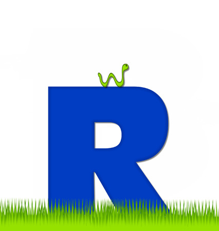 school yard: The letter R, in the alphabet set Apple a Day Eaten Away, is blue.  Letter is sitting on green grass.  A green worm crawls around letter.