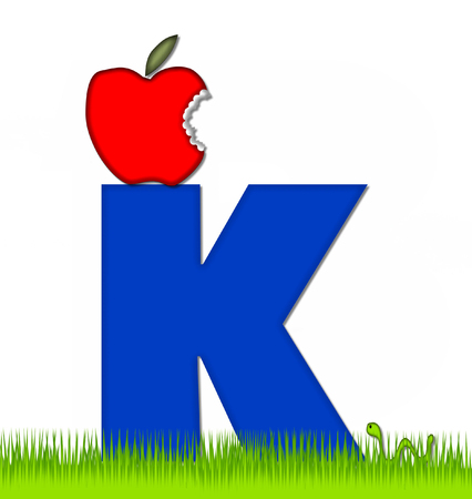 school yard: The letter K, in the alphabet set Apple a Day Eaten Away, is blue.  Letter is sitting on green grass.  A green worm crawls around letter.