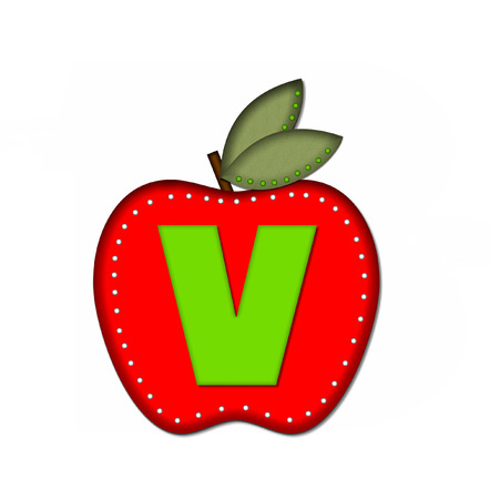 The letter V, in the alphabet set Delicious Apple One, is bright green.  Letter is sitting on a large red apple.  Apple is encircled with white polka dots.