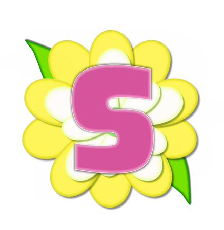 The letter S, in the alphabet set Flower Pin Yellow, is pink with soft white outline.  Letter sits on large, yellow and white flower.