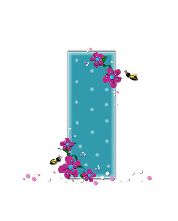The letter I, in the alphabet set Garden Buzz, is aqua.  Each letter is decorated with soft polka dots, flowers and buzzing bees.  Base of letter is covered in pink and white confetti.
