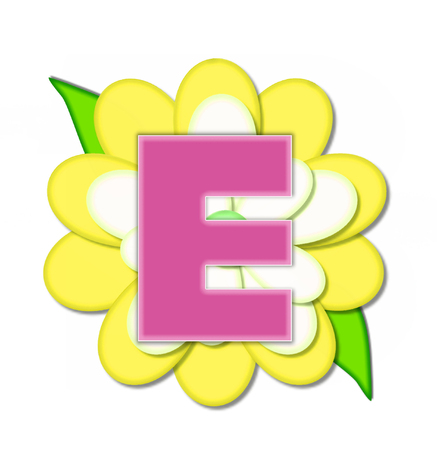 e white: The letter E, in the alphabet set Flower Pin Yellow, is pink with soft white outline.  Letter sits on large, yellow and white flower.