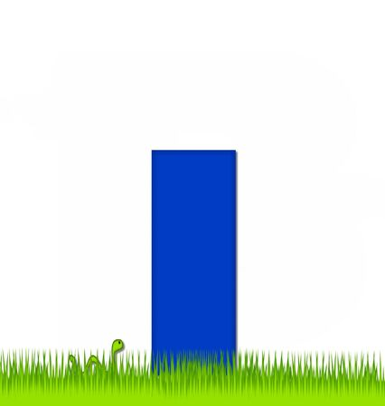 eaten: The letter I, in the alphabet set Apple a Day Eaten Away, is blue.  Letter is sitting on green grass.  A green worm crawls around letter. Stock Photo
