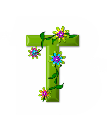 green flowers: The letter T, in the alphabet set Wonderland is 3d and colored green.  Letter is decorated with 3d flowers and vines. Stock Photo