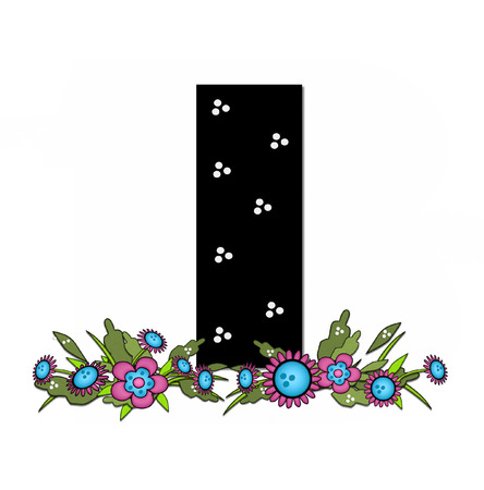 The letter I, in the alphabet set Country Lane Two is pink with black outline.  Letter sits on arrangement of country flowers in pink and blue. Stock Photo