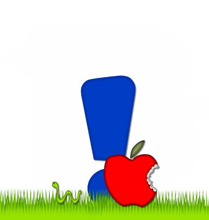 exclamation point: Exclamation point, in the alphabet set Apple a Day Eaten Away, is blue.  Letter is sitting on green grass.  A green worm crawls around letter. Stock Photo