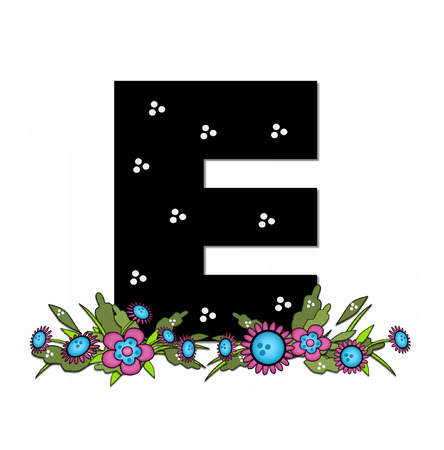 e pretty: The letter E, in the alphabet set Country Lane Two is pink with black outline.  Letter sits on arrangement of country flowers in pink and blue. Stock Photo