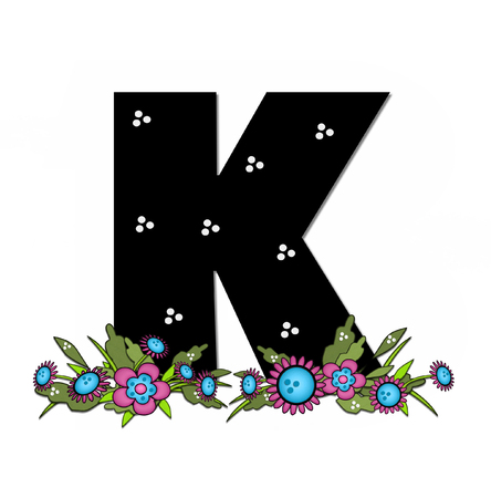 arrangement: The letter K, in the alphabet set Country Lane Two is pink with black outline.  Letter sits on arrangement of country flowers in pink and blue.