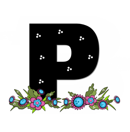The letter P, in the alphabet set Country Lane Two is pink with black outline.  Letter sits on arrangement of country flowers in pink and blue. Stock Photo