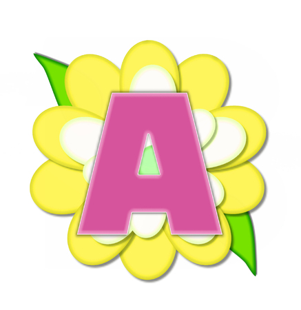 The letter A, in the alphabet set Flower Pin Yellow, is pink with soft white outline.  Letter sits on large, yellow and white flower.