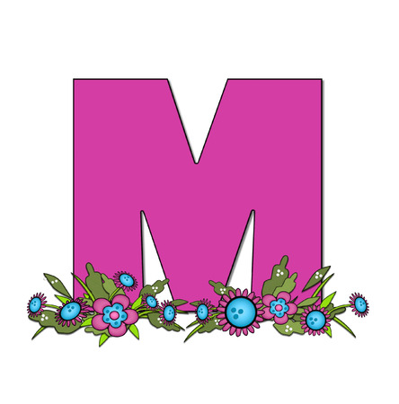 arrangement: The letter M, in the alphabet set Country Lane Two is pink with black outline.  Letter sits on arrangement of country flowers in pink and blue.