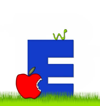school yard: The letter E, in the alphabet set Apple a Day Eaten Away, is blue.  Letter is sitting on green grass.  A green worm crawls around letter.
