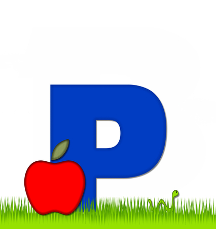 eaten: The letter P, in the alphabet set Apple a Day Eaten Away, is blue.  Letter is sitting on green grass.  A green worm crawls around letter.