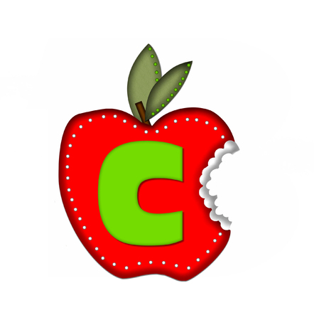 silouette: The letter C, in the alphabet set Delicious Apple Bite, is bright green.  Letter is sitting on a large red apple from which a bite has been taken.  Apple is encircled with white polka dots. Stock Photo