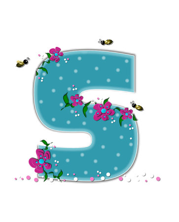 The letter S, in the alphabet set Garden Buzz, is aqua.  Each letter is decorated with soft polka dots, flowers and buzzing bees.  Base of letter is covered in pink and white confetti.