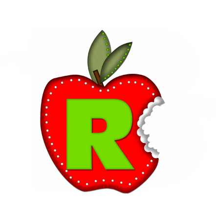 green been: The letter R, in the alphabet set Delicious Apple Bite, is bright green.  Letter is sitting on a large red apple from which a bite has been taken.  Apple is encircled with white polka dots. Stock Photo