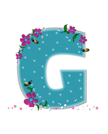 buzz: The letter G, in the alphabet set Garden Buzz, is aqua.  Each letter is decorated with soft polka dots, flowers and buzzing bees.  Base of letter is covered in pink and white confetti. Stock Photo