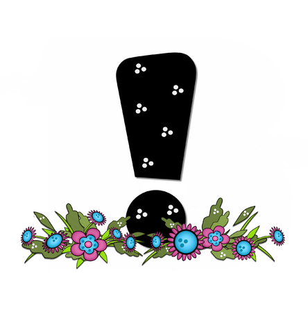 exclamation point: Exclamation Point, in the alphabet set Country Lane Two is pink with black outline.  Letter sits on arrangement of country flowers in pink and blue.