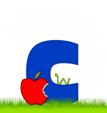 eaten: The letter C, in the alphabet set Apple a Day Eaten Away, is blue.  Letter is sitting on green grass.  A green worm crawls around letter. Stock Photo