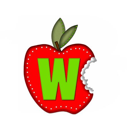 green been: The letter W, in the alphabet set Delicious Apple Bite, is bright green.  Letter is sitting on a large red apple from which a bite has been taken.  Apple is encircled with white polka dots.