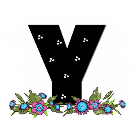 The letter Y, in the alphabet set Country Lane Two is pink with black outline.  Letter sits on arrangement of country flowers in pink and blue.