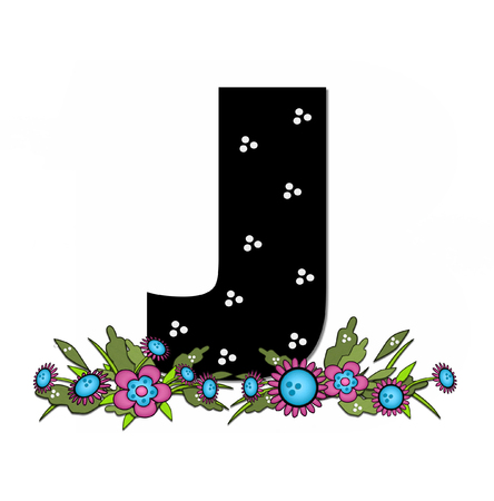 The letter J, in the alphabet set Country Lane Two is pink with black outline.  Letter sits on arrangement of country flowers in pink and blue.