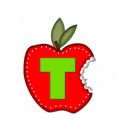 apple bite: The letter T, in the alphabet set Delicious Apple Bite, is bright green.  Letter is sitting on a large red apple from which a bite has been taken.  Apple is encircled with white polka dots. Stock Photo
