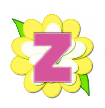 The letter Z, in the alphabet set Flower Pin Yellow, is pink with soft white outline.  Letter sits on large, yellow and white flower.