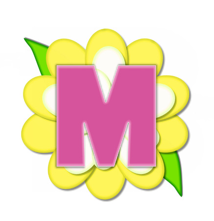 The letter M, in the alphabet set Flower Pin Yellow, is pink with soft white outline.  Letter sits on large, yellow and white flower. Stok Fotoğraf