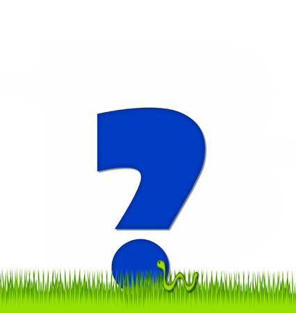 eaten: Question Mark, in the alphabet set Apple a Day Eaten Away, is blue.  Letter is sitting on green grass.  A green worm crawls around letter. Stock Photo