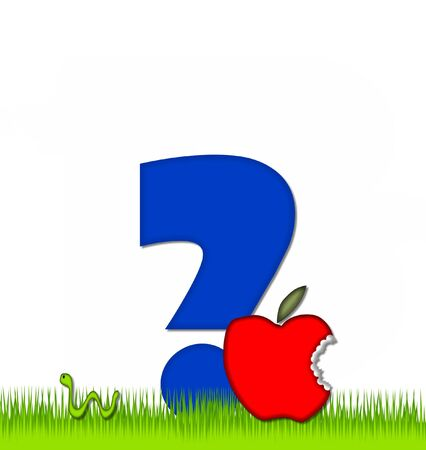 eaten: Question mark, in the alphabet set Apple a Day Eaten Away, is blue.  Letter is sitting on green grass.  A green worm crawls around letter.