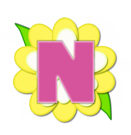The letter N, in the alphabet set Flower Pin Yellow, is pink with soft white outline.  Letter sits on large, yellow and white flower. Stock fotó
